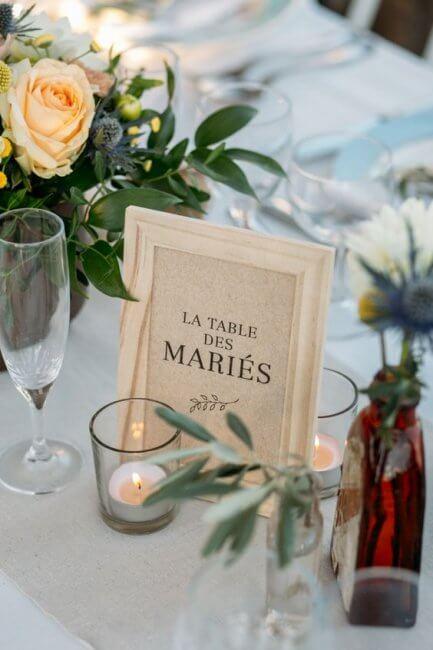 cadre table des mariés gwend'or